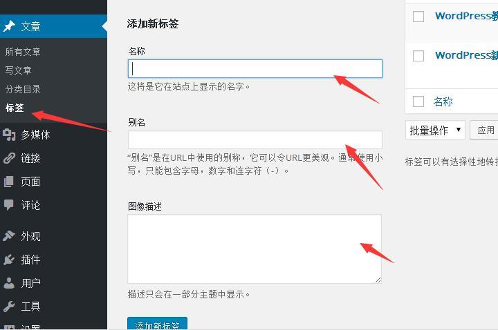 WordPress标签设置